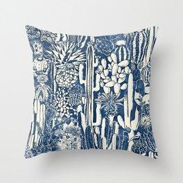Indigo cacti Throw Pillow