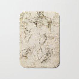 Leonardo da Vinci - Anatomy of the shoulder and neck Bath Mat