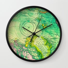 Colorful Map of the North Pole - Vintage Wall Clock