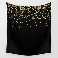 bisexual Wall Tapestries featuring Sparkling golden glitter confetti on black by Better HOME