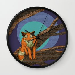 Fox at night Wall Clock