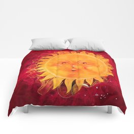 Digital painting of a chubby sun with a funny face Comforters