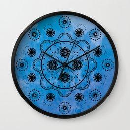 Blue Mechanical Flowers Wall Clock