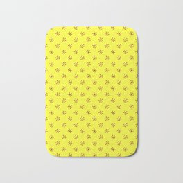 Burgundy Red on Electric Yellow Snowflakes Bath Mat