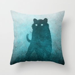 Space Tiger Silhouette Throw Pillow