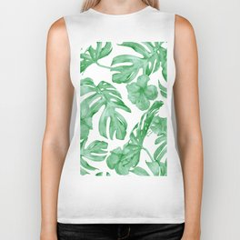 Tropical Island Leaves Green on White Biker Tank
