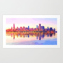 Water color painting of Chicago skyline Art Print