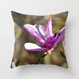 Bee on a Flower Throw Pillow