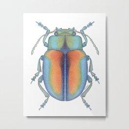 handmade *Chrysolina fastuosa* pointillism Insect illustration - dot joe Metal Print