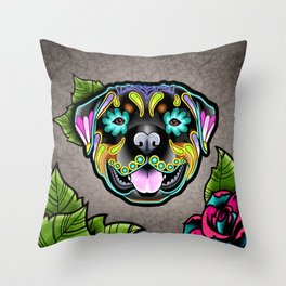 Rottweiler - Day of the Dead Sugar Skull Dog Throw Pillow