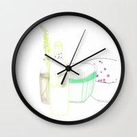 periodic table Wall Clocks featuring table by Pola Popova