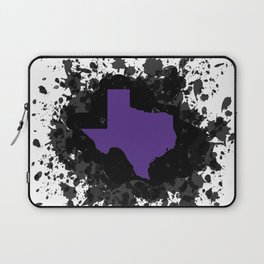 Purple State of Texas with Black Ink Splatter Laptop Sleeve