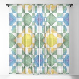 Circular Logic / water color geometric pattern / quilted look Sheer Curtain