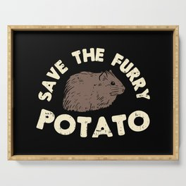 Save The Furry Potato - Funny Domestic Guinea Pig Illustration Serving Tray