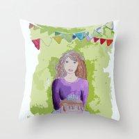 happy birthday Throw Pillows featuring Happy birthday! by Oh Lapislazuli