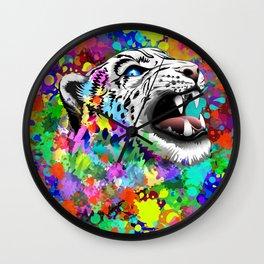 Leopard Psychedelic Paint Splats Wall Clock