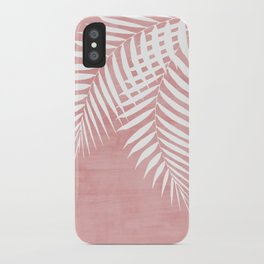 Pink Paint Stroke of Palm Leaves iPhone Case