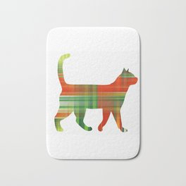 Plaid Green And Red Cat Bath Mat