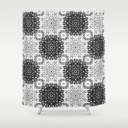 Black and White Gothic Lacy Mandala and Checker Tile Shower Curtain