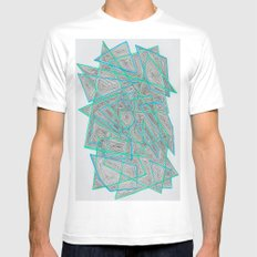 Criss-Cross MEDIUM White Mens Fitted Tee