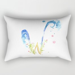 Letter W watercolor - Watercolor Monogram - Watercolor typography - Floral lettering Rectangular Pillow