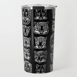 Kickass Kitties - white on black Travel Mug