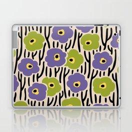 Mid Century Modern Wild Flowers Pattern Purple and Green Laptop & iPad Skin