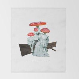 amanita muscaria with children Throw Blanket