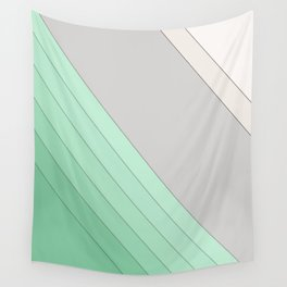 Green , mint , grey , striped Wall Tapestry