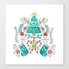 Folk Christmas Tree Canvas Print