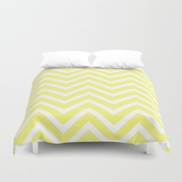 Chevron Stripes : Yellow & White Duvet Cover