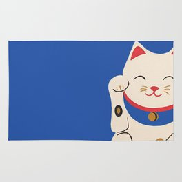 Blue Lucky Cat Maneki Neko Rug