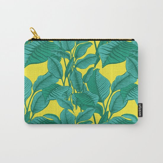 Exotic Tropical Palm Leaf Print - Lime Carry-All Pouch