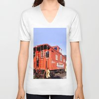 artrave V-neck T-shirts featuring Lil Red Caboose -Wellsboro Ave Hurley ArtRave by ArtRaveSuperCenter: Ave Hurley Illustrat