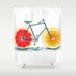 Vintage Orange Old Bike with Retro Cycle Frame Shower Curtain