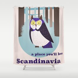 Scandinavian Owl in the forest Vintage poster Shower Curtain