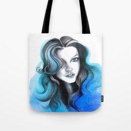 Aqua and Dark Blue Flame Hair Tote Bag