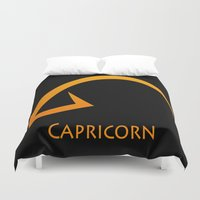 capricorn Duvet Covers featuring Capricorn by Groovyal