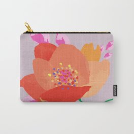 Bright happy colors rose on dusty pink background Carry-All Pouch