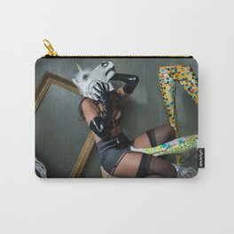 Woman in Lingerie and Unicorn Mask with Brightly Colored Painted Manequins Carry-All Pouch