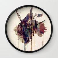mandie manzano Wall Clocks featuring Mischief by  Maʁϟ