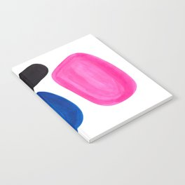 Colorful Minimalist Pop Art Mid Century Modern Style Rose Magenta Phthalo Blue Bubbles Notebook