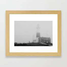 Foggy Montauk Lighthose Framed Art Print