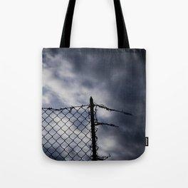 Fence broken hope blue Tote Bag