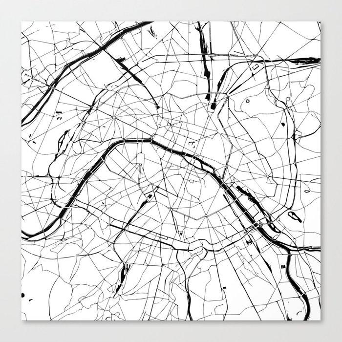 paris france minimal street map black and white canvas print