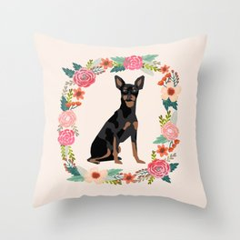 miniature pinscher floral wreath dog breed pet portrait pure breed dog lovers Throw Pillow