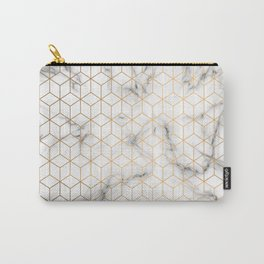 Gold Geometric Pattern on Marble Texture Carry-All Pouch