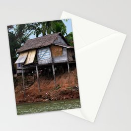 Picturesque Stilt house on the Mekong River Bank, Laos Stationery Cards