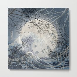 The Great Wave Off Kanagawa Over The Moonlight Metal Print
