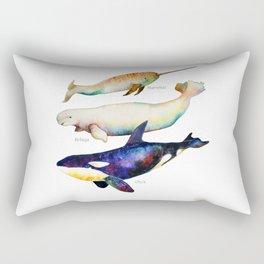 Best Buddies - Narwhal, Beluga & Orca Killer Whales Rectangular Pillow